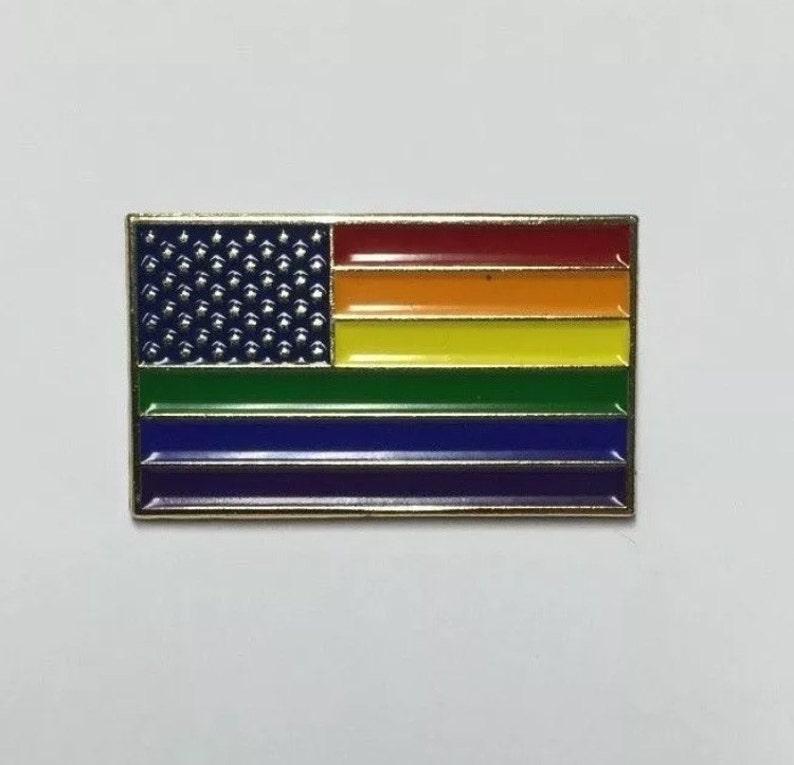 New Glory-Rainbow American Flag LGBT Pride Lapel Pin image 0