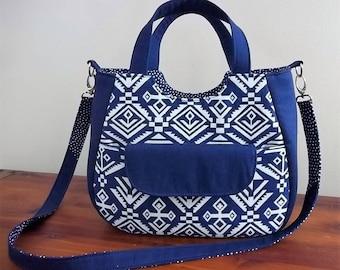 Free Shipping! Ruby Purse,Navy Blue and White Geometric Design , Shoulder bag, Handbag