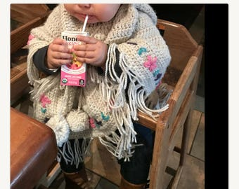 Vintage poncho Poncho Crochet poncho Crochet baby poncho Baby girl poncho Baby poncho Baby girl gift Toddler poncho Hooded poncho Girl gift