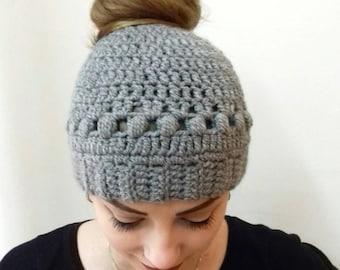 Messy bun beanie, Crochet  messy bun hat, Top knot, Winter beanie, Adult winter hat, Bun hat, Gift for her, Ponytail beanie, Mess bun Beanie