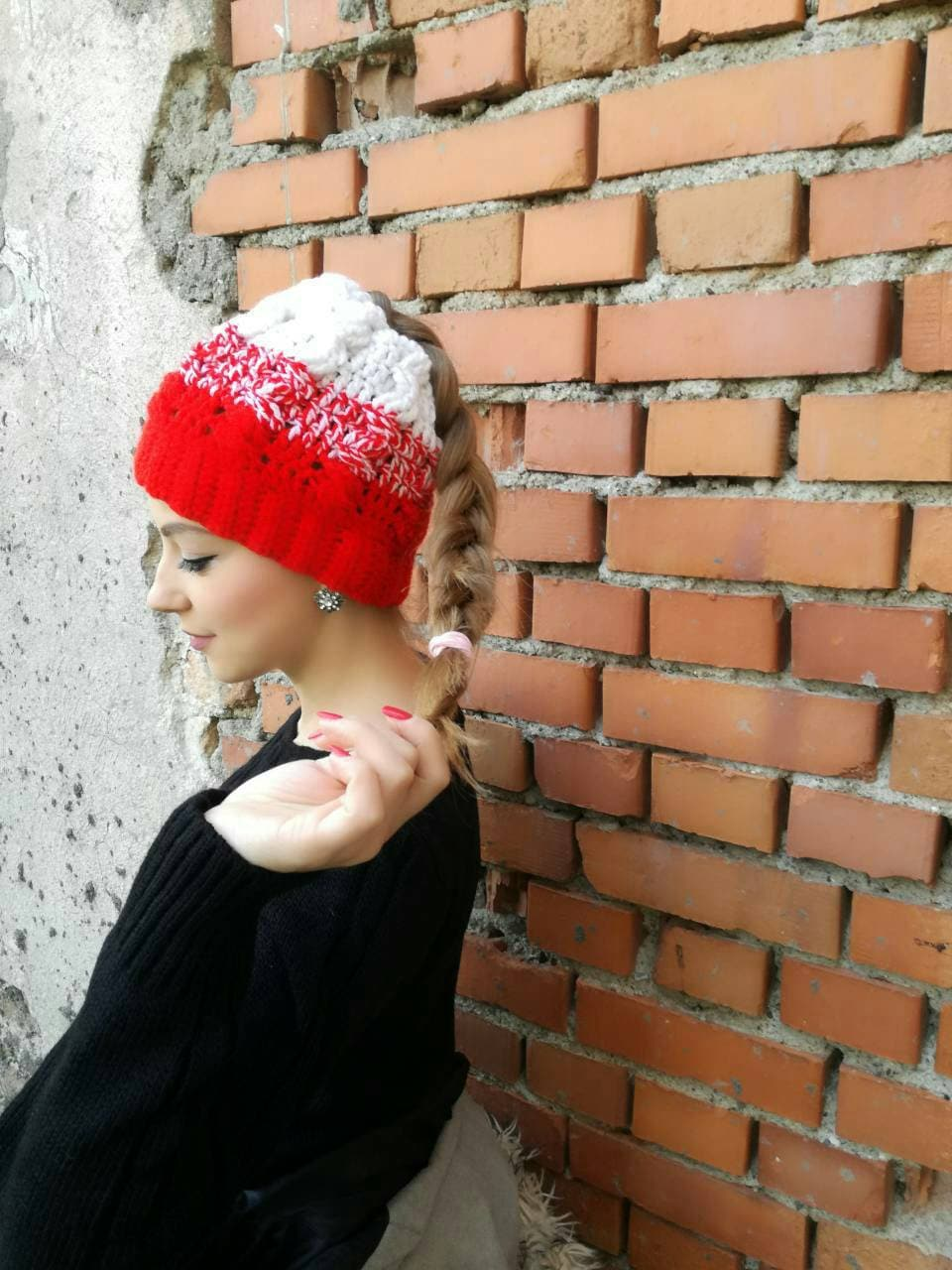 0f80f18fed4 Red messy bun hat Messy bun hat Hat with hole Messy bun
