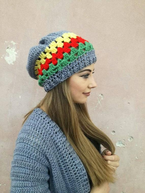 Rasta Hat Crochet Rasta Hat Rastafari Rasta Beanie Jamaican  d40de74ae6b