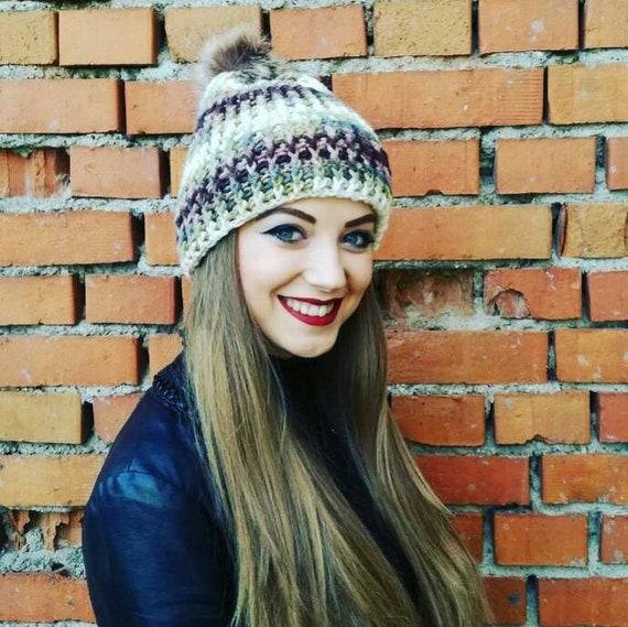 Colorful beanie Colorful hat Vegan hat Bobble hat Chunky knit  e2d6d5ddf334