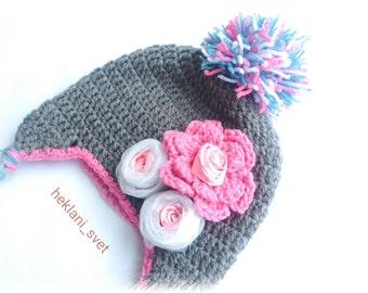 Toddler girl beanie, Toddler girl hat, Toddler pom pom hat, Pom pom beanie, Girl pom pom hat, Infant girl hat, Infant beanie, Infant hats