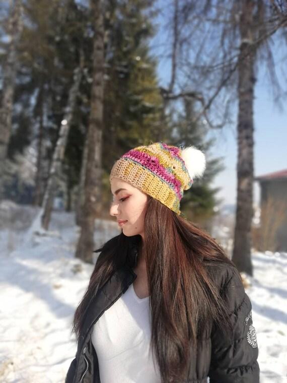 Women/'s Slouchy Winter Hat Women/'s Chunky Slouchy Hat Women/'s Chunky Hat With Pom