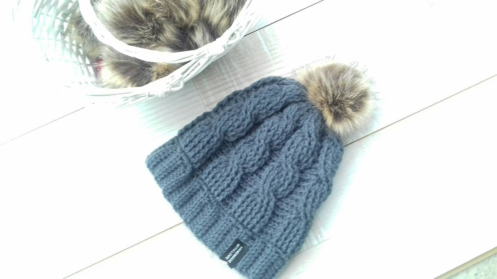 Cable knit hat Fur hat womens Fur ball hat Braided cable  ac38825c244