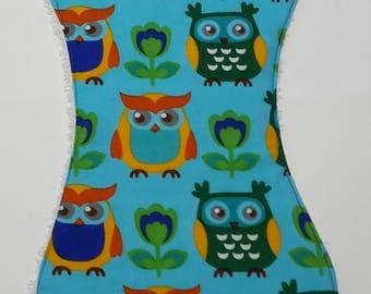 Burp cloth ergonomically with OWL motif