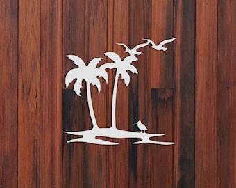 Palm Tree Seagull Wall Hanging