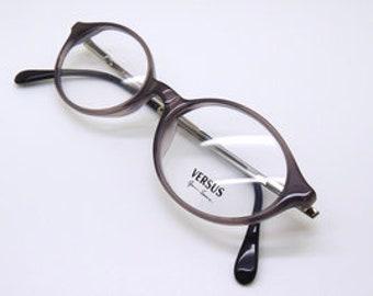 201f7388bc Versace Vintage Designer B77 Grey Oval Acrylic Prescription Glasses 48mm