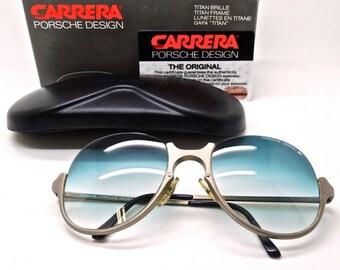 b3bffcde4f9 Carrera Porsche Design Titanium 5650 Aviator Style Sunglasses With Blue  Gradient Lenses