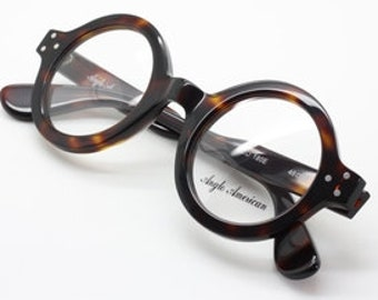 6e02491f2d0f Anglo American 180E Thick Rimmed Round Glasses In Dark Amber (DA)