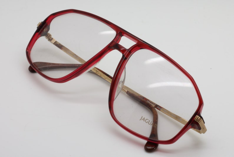 577134fb8a5 Vintage Jaguar Acrylic Aviator Designer Glasses Frames in Red