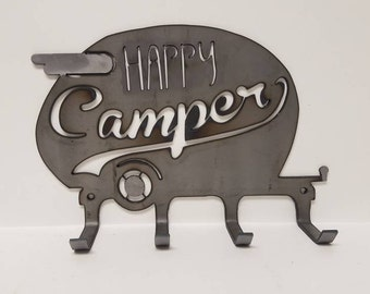 Happy Camper - Canned Ham Camping Trailer * Metal Wall Hanger to Hold Your Backpacks, Camping Gear, Keys, Hats, or any Other Hangable Items!