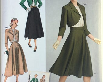 Simplicity 8462 1940 Vintage Blouse, Skirt and Lined Bolero. Size 6 - 14 or 16 - 24