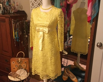 2699a2b6bc Handmade Vintage 1960 s Yellow Lace Dress