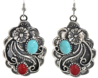 Turquoise Coral Dangle Earrings Navajo Silver French Hooks