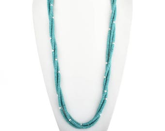 """Navajo Turquoise Silver Beaded Necklace Three Strands 35"""" Long Native American Jewelry"""