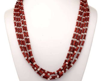 Native American Red Coral Necklace Fire N Ice Choker