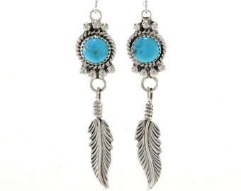 Natural 8mm Kingman Turquoise Feather Earrings Silver French Hooks