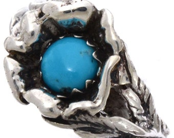 Ladies Turquoise Flower Ring Navajo Crafted Silver Size 5 To 9