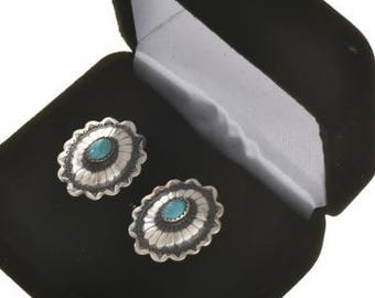 Navajo Made Turquoise Cuff Links  Silver Conchos