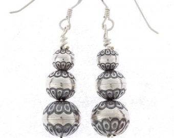 Desert Pearl Earrings Navajo Beaded Silver French Hooks