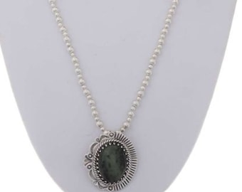 Ruby Zoisite Sterling Pendant With Bead Necklace