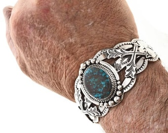 Navajo Jewelry Crossed Arrows Turquoise Cuff Hammered Silver Bracelet