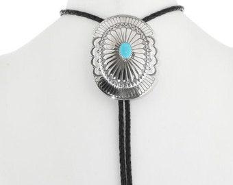 Navajo Turquoise Bolo Tie Navajo silver Concho Style 1437