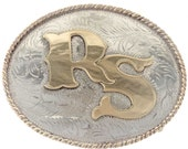 Custom Initials Belt Buckle Fancy Gold Silver Western Scroll 8050