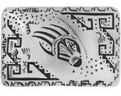 Overlaid Silver Bear Paw Belt Buckle Handmade by Thomas Begay 0511
