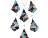 Zuni Inlaid Turquoise Shell Pendant Colorful Design With Chain by Delorna Lahi 0172