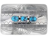 Kingman Turquoise Silver Belt Buckle Navajo Made 0520
