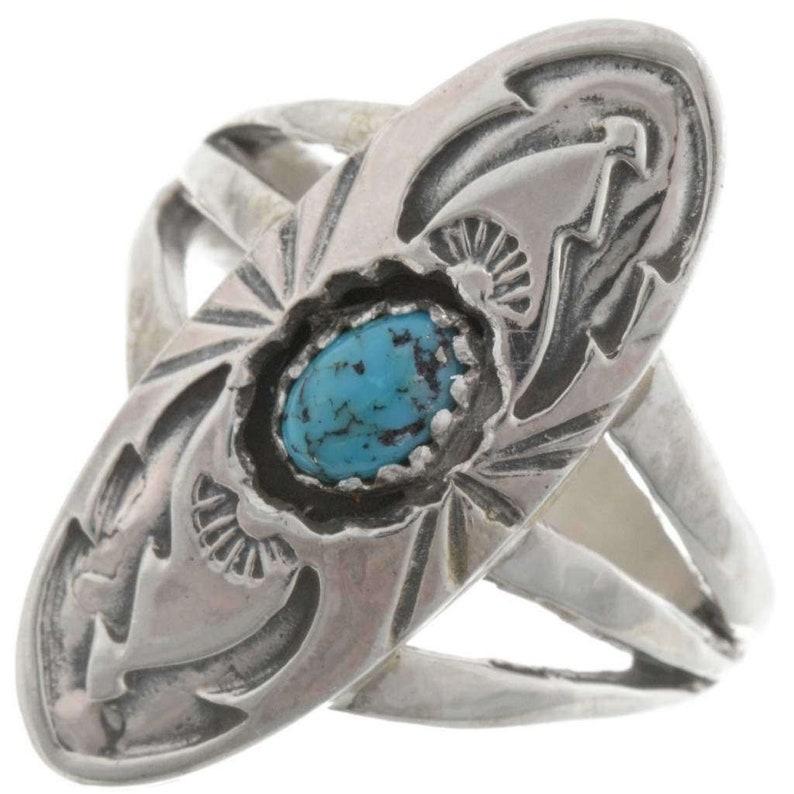 Natural Kingman Turquoise Ring Ladies Navajo Pointer Style