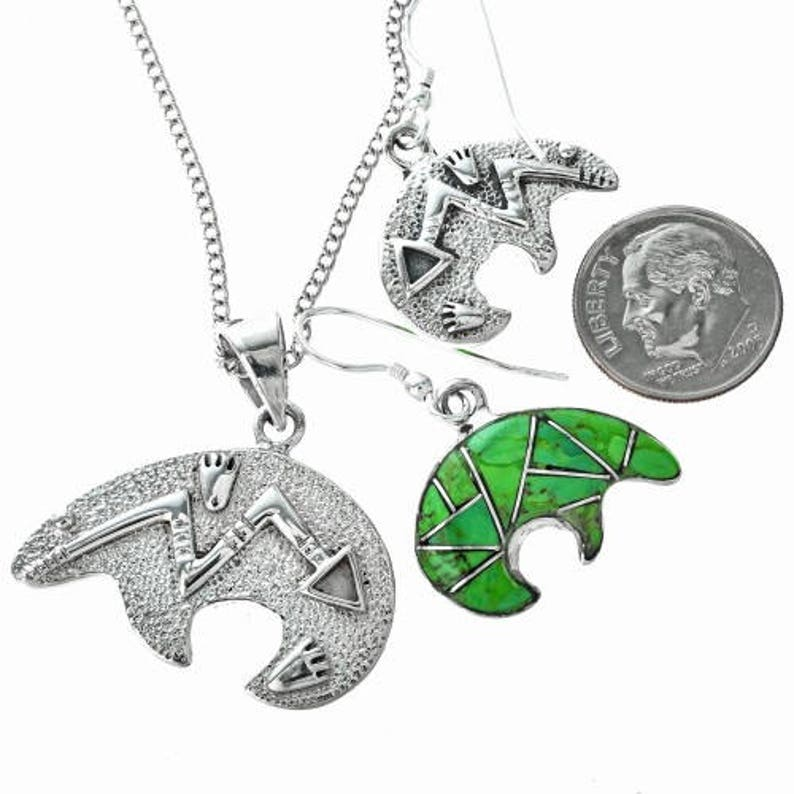 Green Turquoise Bear Southwest Pendant Set Inlaid Sterling with Earrings