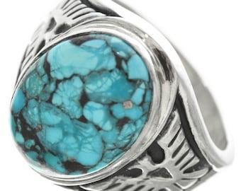 Mens Turquoise Ring Silver Eagle Overlaid Thunderbird Shank Sizes 9 To 13