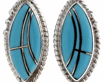 Indian Turquoise Stud Earrings Inlaid Sterling