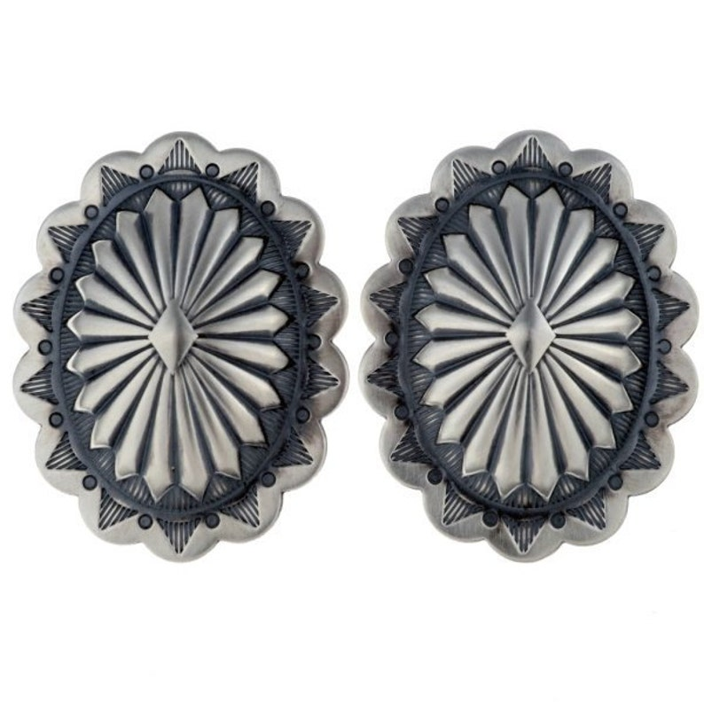 Navajo Jewelry Sterling Concho Earrings Posts Stamped Santa Fe Style