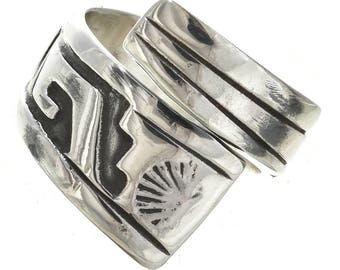 Native American Ladies Silver Bypass Ring Adjustable Sizes 4 to 6 Native American Jewelry