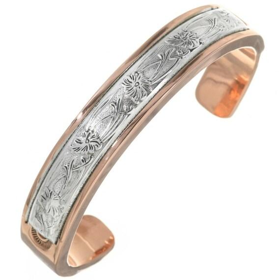 dddbe00871e95 Hammered Silver Copper Big Boy Cuff Heavy Gauge Southwest Bracelet 0131