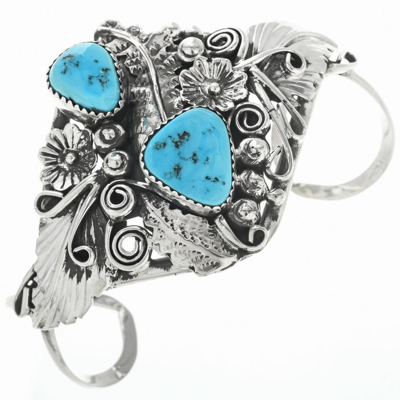 Vintage Turquoise Silver Ladies Bracelet Sterling Cuff by image 0
