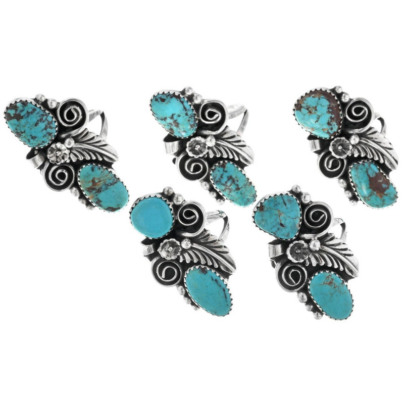 Native American Turquoise Pointer Ring Ladies Sterling Design Navajo Jewelry 0122