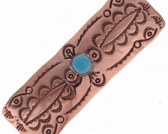 Hand Hammered Copper Barrette Turquoise Tribal Patterns