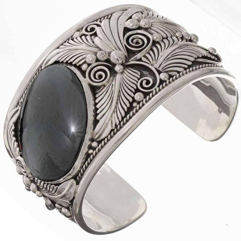 a6e30e432349b Navajo Big Boy Hematite Cuff Wide Sterling Bracelet