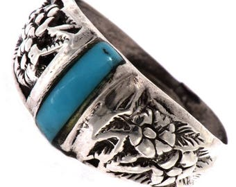 Silver Turquoise Flower Ring Navajo Made Ladies Sizes 4 to 9