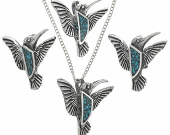 Turquoise Silver Pueblo Hummingbird Pendant With Chain Inlaid Sterling