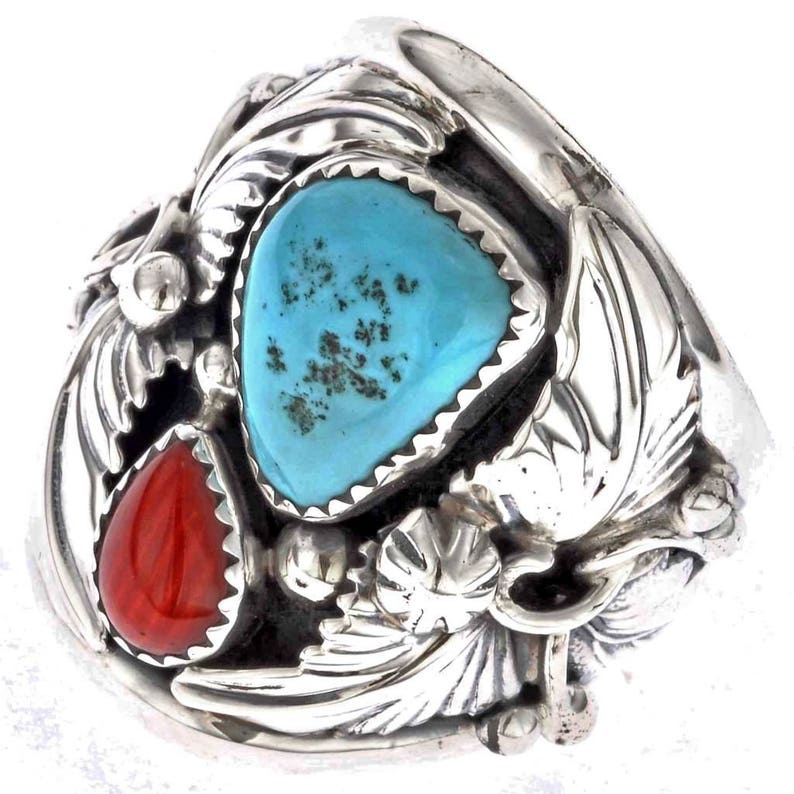 63f497c5b199c Turquoise Coral Mens Ring Navajo Silver Big Boy Any Size