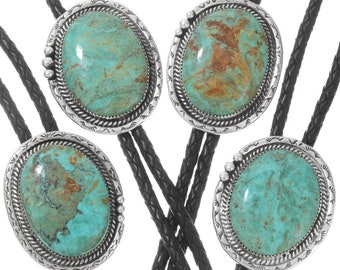 Genuine Turquoise Silver Bolo Tie Hammered Sterling 2127