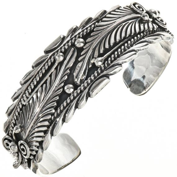 Native American Silver Feather Cuff All Sterling Southwest Bracelet 0280