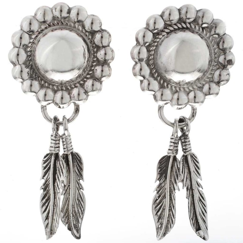 Silver Concho Feather Earrings Navajo Designed Post Dangles